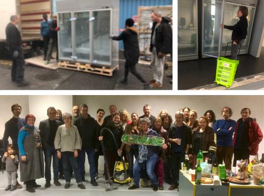 Photos de l'arrivée des frigos, d'un panier et de membres lors du Nettoy'Ap